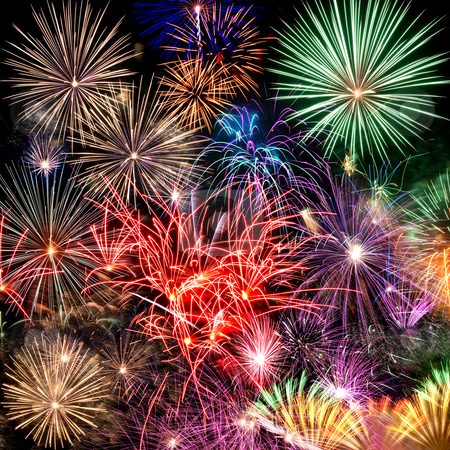 Fireworks stock photo, Beautiful fireworks background for new year and other celebrations by matthi