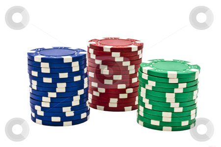 Casino chips stock photo, Casino chips isolated on white background by Ingvar Bjork