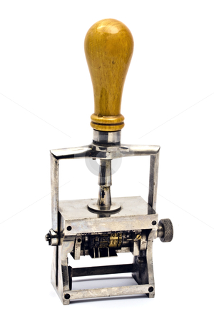 Old rubber stamp stock photo, Old rubber stamp isolated on white background   by Ingvar Bjork