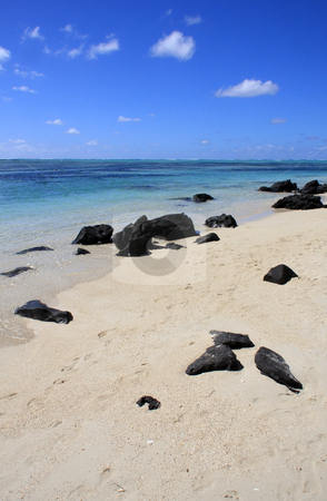 Mauritius beach stock photo, Rocks on the beach in Mauritius by Ingvar Bjork