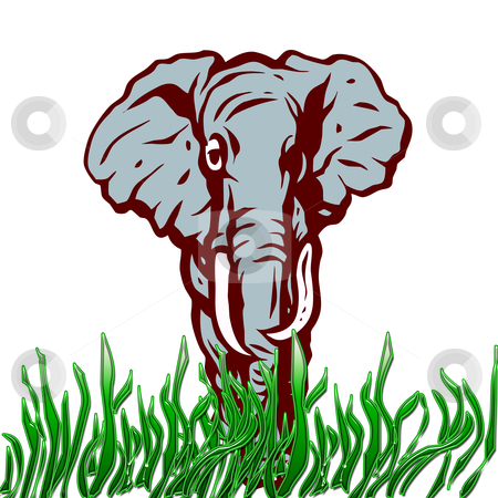 African Elephant stock photo, african elephant illustration by CHERYL LAFOND