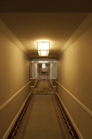 Hotel Hallway stock photo, A long modern hotel hallway with rooms on either side by Kevin Tietz