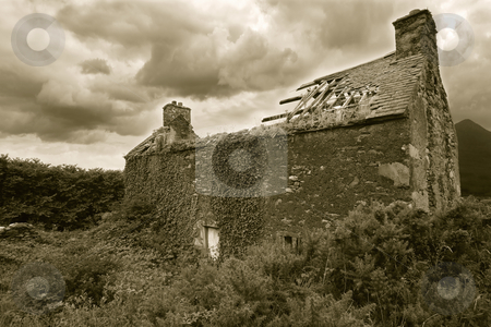 Abandoned house stock photo, A derelict house somewhere in Ireland. Sepia-toned for older look. by © Ron Sumners