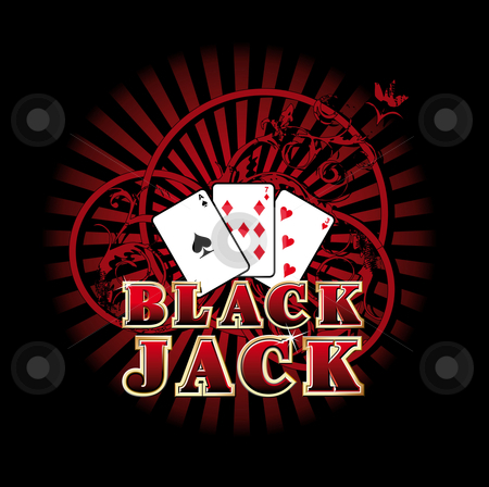 "Black Jack stock photo, Vectorial composition with three cards and golden style inscription ""Black Jack"" on background with red rays and ornaments.  by busja"