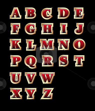 Golden style alphabet stock photo, Vectorial golden style alphabet, isolated on black background. File contains gradients.  by busja