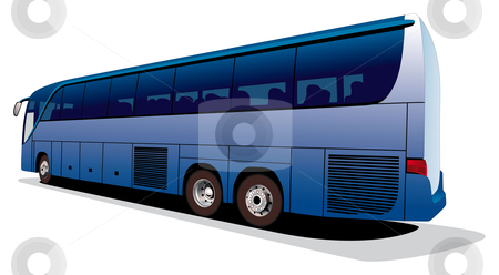 Large tourist's bus stock photo, Vectorial image of big tourist's coach isolated on white background. Contains gradients and blends. by busja