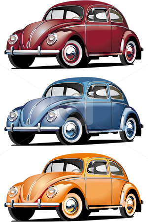 VW_Beetle stock photo, Vectorial icon set of old-fashioned cars (VW Beetle) isolated on white backgrounds. Every car is in separate layers. File contains gradients and blends. by busja
