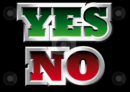 "Yes and No stock photo, Vectorial metal style word ""Yes"" and ""No"". by busja"