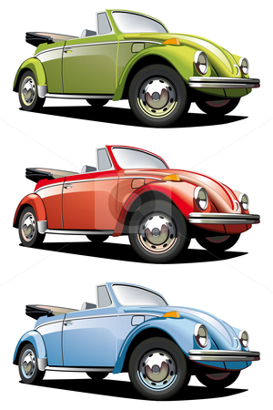 Old-fasioned roadster stock photo, Vectorial icon set of old-fashioned cars (VW Beetle) isolated on white backgrounds. Every car is in separate layers. File contains gradients and blends. by busja