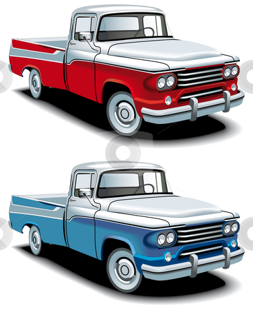 Retro american pickup stock photo, Vectorial icon set of American retro pickups, executed in two colour versions and  isolated on white backgrounds. Every pickup is in separate layers. File contains gradients and blends. by busja