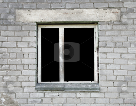Dark window of the thrown old building stock photo, Empty dark window of the thrown old building by Alexey Romanov