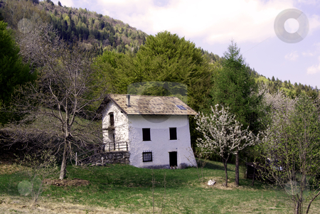 White house stock photo, A little white house on a mountain meadow among woods by freeteo