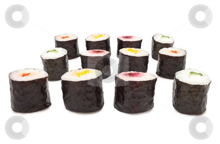 Maki Roll selection stock photo, Twelve fresh Maki Rolls arranged horizontally over white by Samantha Craddock