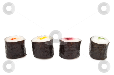 Four Maki Rolls stock photo, Four fresh Maki Rolls arranged horizontally over white by Samantha Craddock