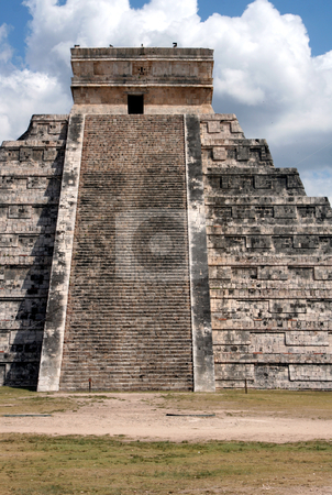 Kukulkan Temple Straight On stock photo, The temple of f Kukulkan at Chichen Itza, (Mayan Ruins) in Mexico.  by Chris Hill