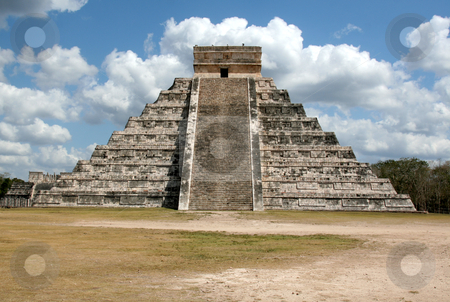 Kukulkan Straight On stock photo, The temple of f Kukulkan at Chichen Itza, (Mayan Ruins) in Mexico.  by Chris Hill