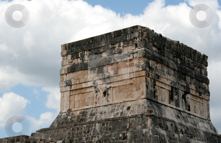 The Top of the Jaguar Temple stock photo, The Top of the Jaguar Temple at Chichen Itza, (Mayan Ruins) in Mexico.  by Chris Hill