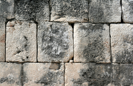 Mayan Stone Wall stock photo, A closeup of a stone wall at Chichen Itza. by Chris Hill