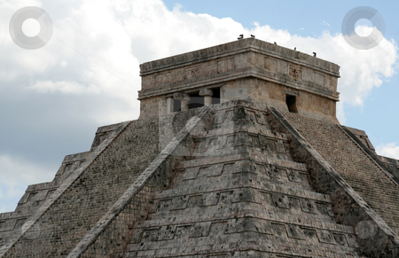 The Top of Kukulkan Temple stock photo, The top of the temple of Kukulkan at Chichen Itza, (Mayan Ruins) in Mexico.  by Chris Hill