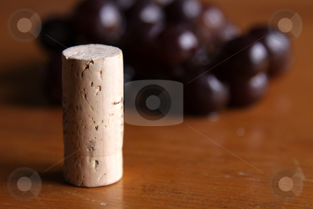 Cork in front of Grapes stock photo, A wine bottle cork sitting in front of a cluster of grapes. by Chris Hill