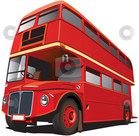"""London Bus stock photo, Detailed vectorial image of symbol of London - best-known of England double-decker bus - """"Routhmaster"""", isolated on white background. Contains gradients and blends. by busja"""
