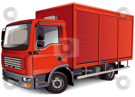 Red Van stock photo, Detailed vectorial image of red van, isolated on white background. Contains gradients and blends. by busja