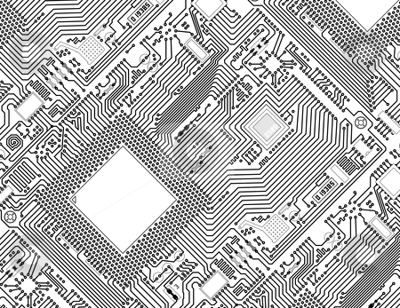 Printed monochrome industrial circuit board background stock photo