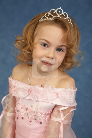 Portrait of girl in pink dress stock photo, Portrait of a young girl in a pink dress by Alexey Romanov
