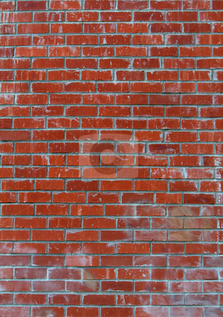 Lots of red bricks wall stock photo, Red brick wall with white washed areas by bobkeenan