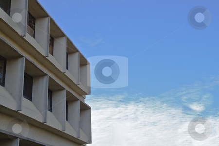 Modern building sky clouds stock photo, Modern university building against a blue sky and white cloudscape by bobkeenan