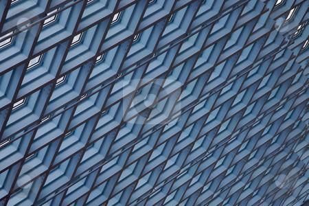 Modern ceiling skylights stock photo, Blue ceiling skylights in modern building by bobkeenan