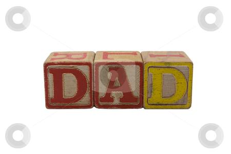 Old Wood Blocks Dad stock photo, Vintage Colored wooden play block spelling Dad by bobkeenan