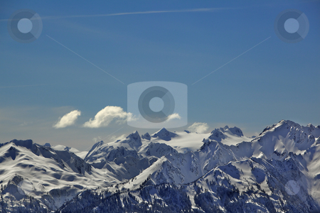 Olympic Mountains color stock photo, Color image of part of Hurrican ridge of the Olympic Mountains by bobkeenan
