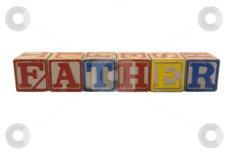 Wood Blocks Father stock photo, Vintage Colored wooden play block spelling  Father by bobkeenan