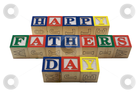 Wood Blocks Happy fathers day stock photo, Vintage Colored wooden play block spelling happy fathers day by bobkeenan