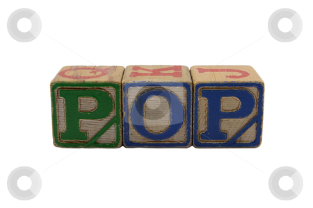 Wood Blocks Pop stock photo, Vintage Colored wooden play block spelling Pop by bobkeenan