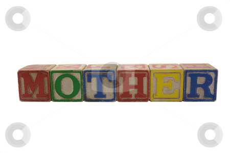 Vintage alphabet blocks spelling mother stock photo, wooden alphabet blocks lined up in a row spelling Mother by bobkeenan
