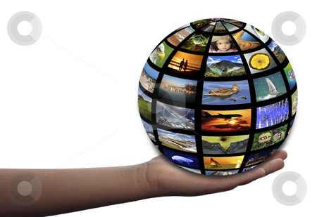 The Earth in my hand stock photo, Multiple images symbolizing the Earth on an extended hand by Bernardo Varela