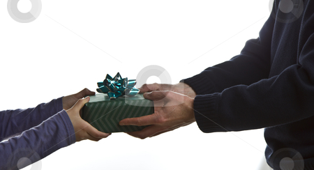 Fathers Day Gift stock photo, Father receives gift from young daughter by tab62