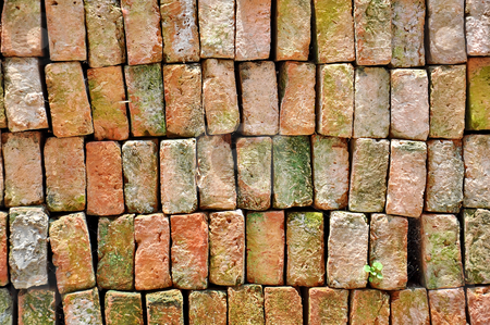Red brick stock photo, Red brick wall  by phanlop88