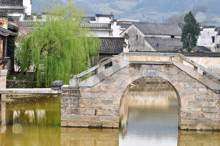 Ancient village stock photo, Landscape of a typical Chinese ancient village  by John Young