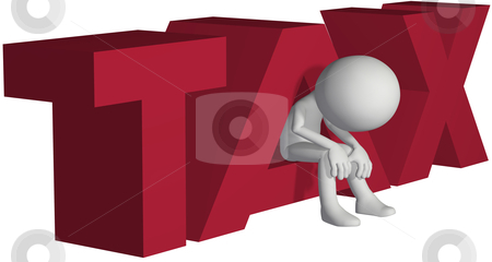 Taxpayer ruined bankrupt by high taxes stock photo, Taxpayer ruined bankrupt by high taxes sits in the word TAX by Michael Brown