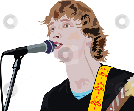 Handsome man is singing a song stock photo, illustration of handsome man is singing a song by vetdoctor
