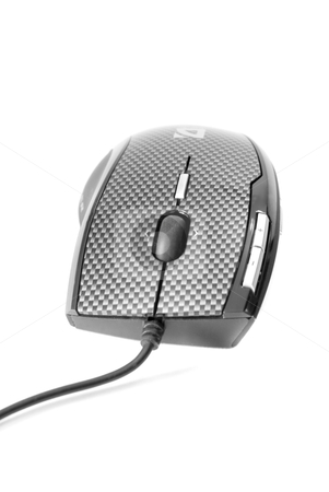 Modern PC mouse stock photo, Modern PC mouse with cable isolated on white background by olinchuk