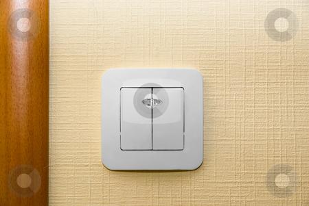 Electrical light wall switch stock photo, Electrical light wall switch. Western-style renovation. by olinchuk