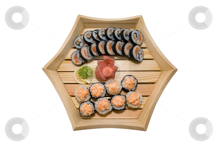 Sushi in wood plate stock photo, sushi in wood plate on white background by olinchuk