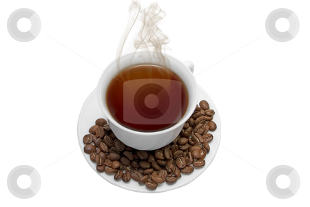 Perfect white coffee cup stock photo, Perfect white coffee cup with beans and steam isolated on white by olinchuk