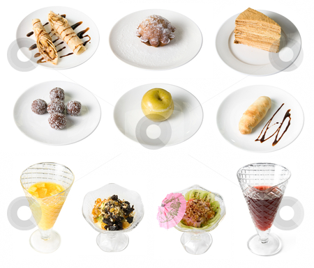 Set of desserts stock photo, Set of desserts isolate on white by olinchuk