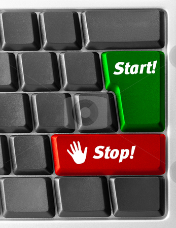 """Computer keyboard with """"Start"""" and """"Stop"""" key stock photo, Close-up of Computer keyboard with """"Start"""" and """"Stop"""" key by olinchuk"""