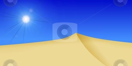 Dessert Sun stock photo, bright dessert sun with dunes in the forground by Henrik Lehnerer